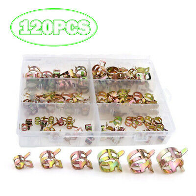 120pcs 7/10/11/14/16/17mm Clips Fuel Oil Water Hose Clip Pipe Tube Clamp Tool