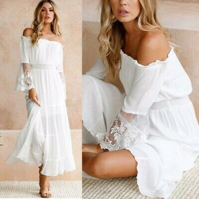 check out 2b0e1 0e44a PLUS SIZE FRAUEN Spitze Lang Maxi Kleid Schulterfrei Sommer Strand  Sommerkleid