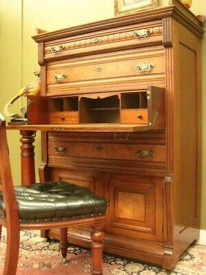 ANTIQUE AUSTRALIAN WALNUT 5 DRAWER SECRETAIRE / STORAGE CHEST CABINET.  c1900s