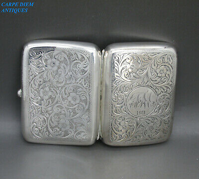 ANTIQUE SUPERB SOLID STERLING SILVER BRIGHT CUT ENGRAVED CIGARETTE CASE 79g 1910