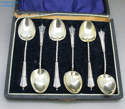 Antique Cased Set 6 Solid Sterling Silver Albany Pattern Coffee Spoons Birm 1917