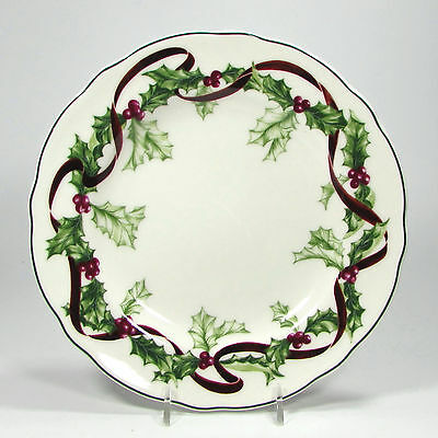 "Charter Club WINTER GARLAND 9"" Luncheon Plate Porcelain Red Ribbon Green Holly"