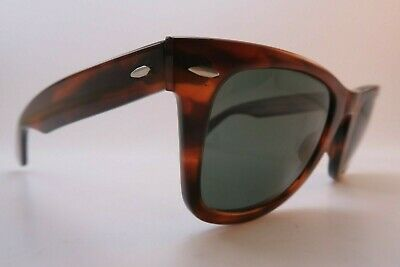 Vintage B&L Ray Ban Wayfarer sunglasses size 50-24 etched BL mens medium USA EXC