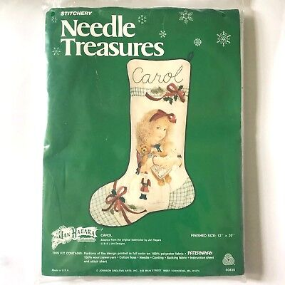 Jan Hagara Little Girl Crewel Embroidery Stocking Kit Carol Needle Treasures