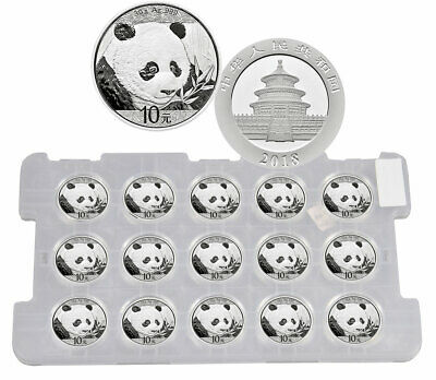 Sheet of 15 2018 China 30 g Silver Panda 35th Coins GEM BU Mint Caps SKU50511