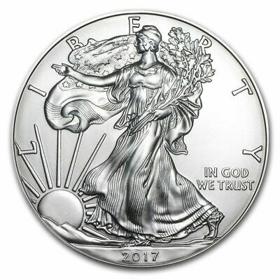2017 American Silver Eagle 1oz Silver Coin BU, Plus Air-Tite Plastic Coin Holder