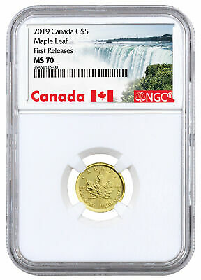 2019 Canada 1/10 oz Gold Maple Leaf $5 Coin NGC MS70 FR Exclusive SKU55925