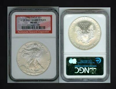 2006 Ngc Ms69 1 0F First 50,000 Struck Silver Eagle We Hae Lowered Our Prices