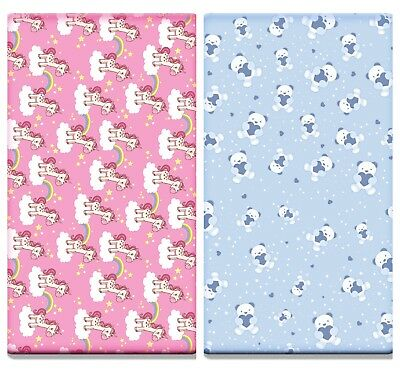2x Printed Cot Bed Fitted Sheets 100% Cotton Jersey(140x70 cm) Unicorn / Teddy