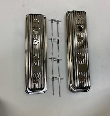 1987-00 SBC Chevy CHROME Center Bolt Valve Covers Factory Style 5.0 305 5.7 350