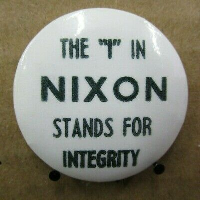 "1968 ""The I In Nixon Stands For Integrity"" Richard Nixon Pinback Button (Y)"