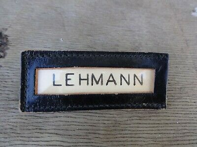 Vintage US ARMY LEATHER NAME TAG Clasp Back 1950's
