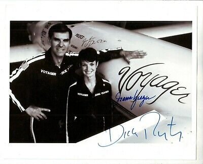 JEANA YEAGER AND DICK RUTAN SIGNED 8 x 10 + SIGNED POSTAL COVER CACHET