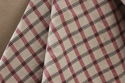 Kelsch Fabric Antique French plaid c1930 red & black cotton bed cover all cotton