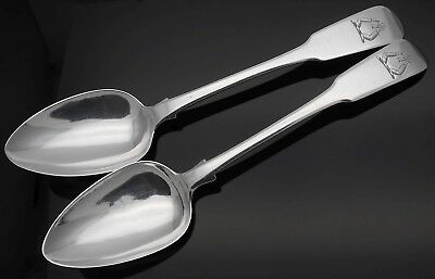 2x CRESTED STERLING SILVER TABLESPOONS - FIDDLE PATTERN - GEORGIAN ANTIQUE