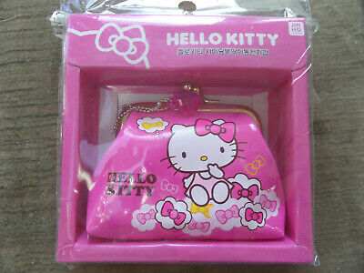 c661a7a29 SANRIO HELLO KITTY Pink Ribbons Kiss-Lock Clasp Gamaguchi Change Coin Purse  NEW