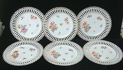 "Vintage Germany Bavaria China- Set of 6 Reticulated 8"" Plates - w/Gold trim"