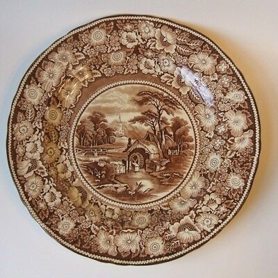 Midwinter Ltd Rural England Brown Transfer 13.5 Inch Round Charger Platter
