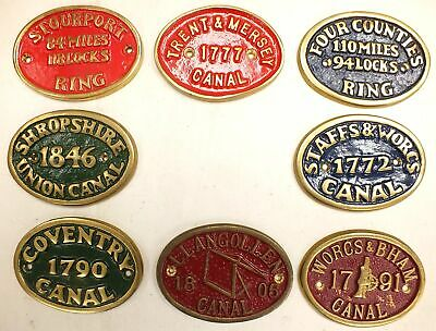 Various Vintage/ Antique Canal Brass Plaques  - A32