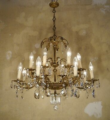 Classic Crystal Brass 16 Lights Chandelier Old Vintage Lamp Fixures Ceiling Lamp