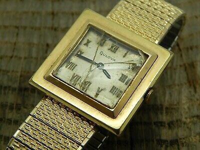 Vintage Antique Swiss Made 1969 Bulova Watch Cal. 6CL 17 Jewels Gold Plated