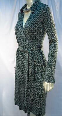 e00f44945e1 Vtg Diane von Furstenberg Jeanne Green Black Geometric Silk Wrap Dress
