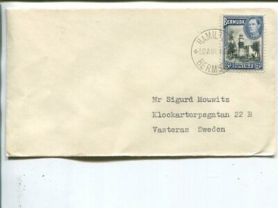 Bermuda surface mail cover to Sweden 1948