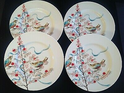 "Lenox Simply Fine Chirp Seasonal Luncheon/salad Plates. Set Of 4. 9 3/8"" Bone"