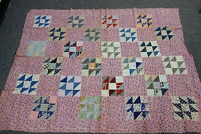 """1930's Quilt Top-JACKS ON SIX Pattern- 44""""x56""""- VG-Calico w/Anchors,Horseshoes"""