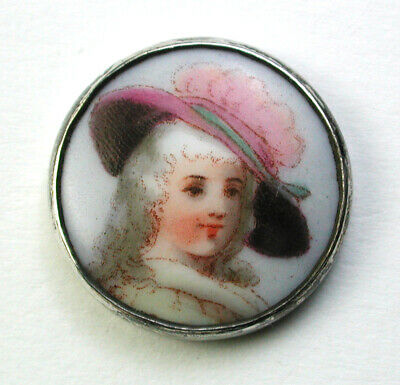 """BB Antique Porcelain in Sterling Button Hand Painted Woman in Pink Hat -  3/4"""""""