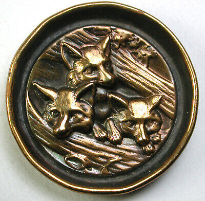"""BB Antique Brass Button 3 Foxes Peering Out From Between Logs 1 & 3/8"""""""