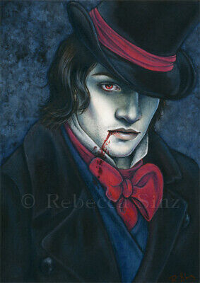 "Gothic Vampire Portrait /""Seduction/"" FANTASY ART ebsq 8x8"