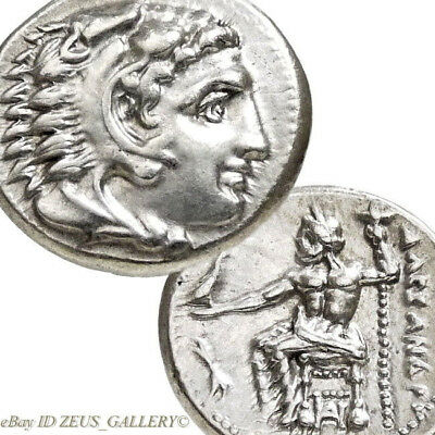 Lifetime Rare Issue ALEXANDER the Great Herakles Tbolt Ancient Greek Silver Coin