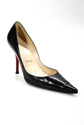 153cf5679b2f Christian Louboutin Womens Pigalle Pointed Toes Pumps Black Leather Size 8.5