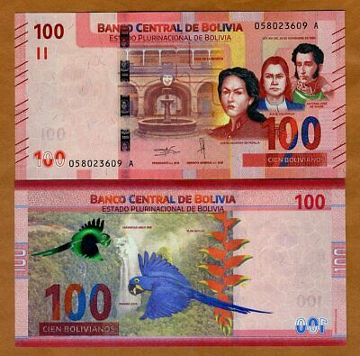 Bolivia, 100 Bolivianos, 2019 P-New, First redesign in 30 years, UNC > Parrot