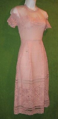 Romeo Juliet Couture Dusty Pink Lace Mesh Cocktail Dress L 12/14 $240 MISC