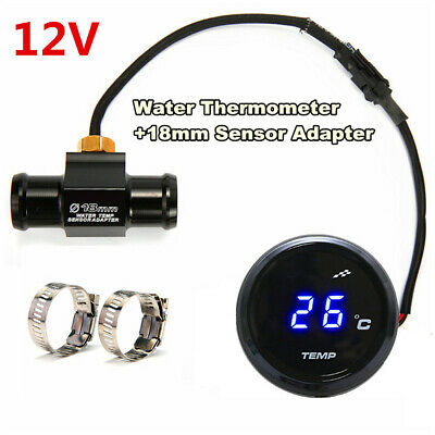 12V Motorcycle Water Temp Thermometer With 18mm Temp Temperature Sensor Adapter