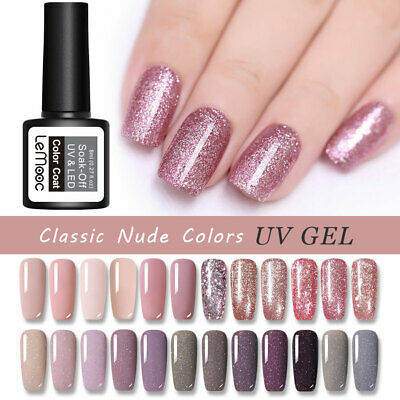 24 Colors LEMOOC Rose Gold Nude UV Gel Nail Polish Deep Nude Glitter Gel Varnish