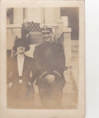 Old Photo Navy Sailor Military Officer Uniform Woman Glamour Jn1