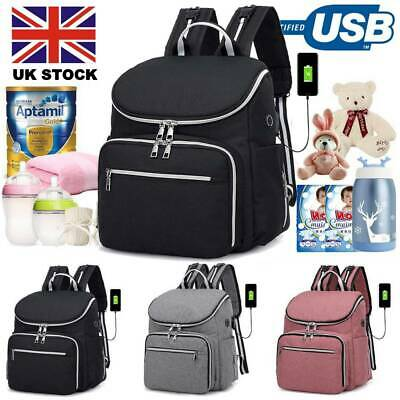 Mammy Large Baby Diaper Nappy USB Changing Bag Travel Waterproof Backpack+Bag