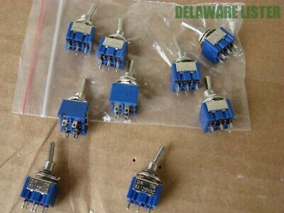 Lot of 9 Mini Panel Toggle Switch 6A 125VAC 6 Pin 6P DPDT ON-ON 2 Position (New)