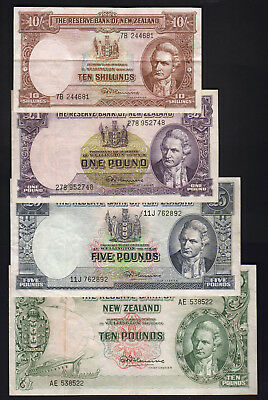 NEW ZEALAND P-158-161d (1956-67) Fleming TYPE SET. 4 Notes:10/-, 1,5,10 Pounds.