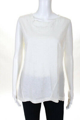 b35b89630bcd9 Elizabeth and James White Cotton Ivory Silk Paneled Tank Top Size Small