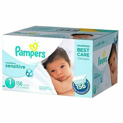 Pampers Swaddlers Sensitive Disposable Baby Diapers Newborn Size 1-156 (8-14 lb)