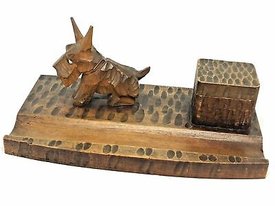 NP8 * Scotty Dog Black Forest Wood Carved Inkwell German Antique 1930's