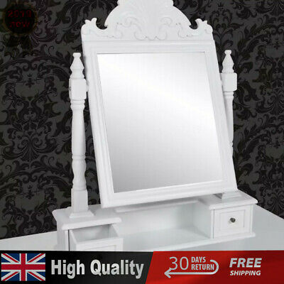 Dressing Table Vanity Make up Table with Rectangular Swing Mirror White MDF new