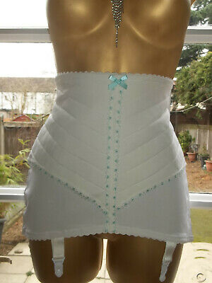 Vtg 1980s Firm Control Nylon & Elastodiene Lacy Satin Ribbon Girdle Suspenders L