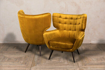 Pair Of Yellow Velvet Occasional Chair Armchair Feature Chair Retro Style