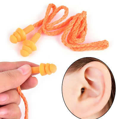 Soft Silicone Corded Ear Plugs Reusable Hearing Protection Protector Earplug ZY