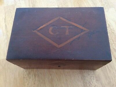 Antique Wooden Desk/ Jewellery Box Inlaid With Initials C T.